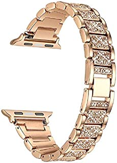 HEMOBLLO 38mm Metal Crystal Watch Band Replacement Wristband Strap for Apple watch1/2/3 (Rose Gold)