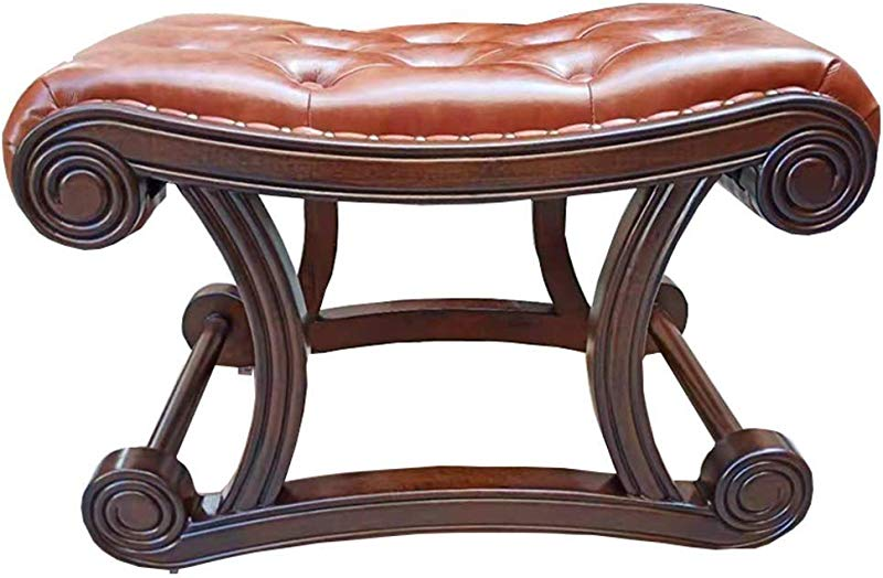HZC European Style Upholstered Leather Footrest Stool Vintage Luxury Comfort Rocking Stool Footstool Seat Solid Wood Entryway Shoe Changing Bench Color F Size S