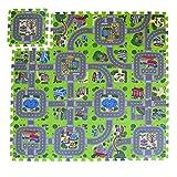 Exultimate Play Mat Road Toy Foam Playmat Interlocking Floor Puzzle Road Playroom Mat Interactive Play Set (18 Piece Set Zoo)