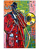 Audree Trombone Poster Man Jazz Colorful Music Beautiful Wall Art Hanging Painting Paper Photography Watercolor Living Classroom Home Decor No Frame