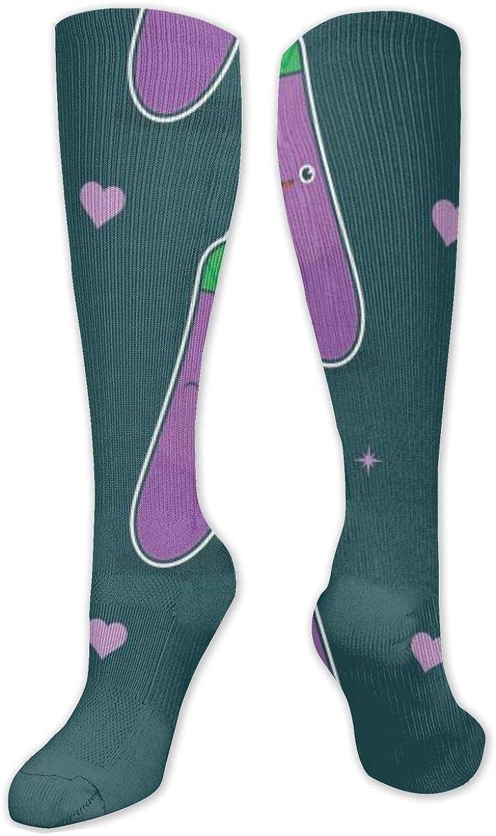 Funny Eggplant Knee High Socks Leg Warmer Dresses Long Boot Stockings For Womens Cosplay Daily Wear