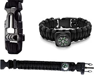XOPRO Paracord Bracelet with Fire Starter and Whistle. Emergency Magnesium Fire Starter and Survival Kit