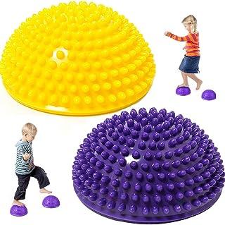 LEZED Bola de Equilibrio Erizo Bola del Masaje del pie de Yoga Durian Masaje De Pies De Bola Media Bola para La Gimnasia De Pilates para Adulto del Niño 2 Piezas (púrpura y Amarillo)