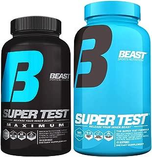 Super Test Combo Pack: Beast Sports Super Test Maximum (120 Capsules) & Super Test Original (180 Capsules)-Optimum Test Booster Combination to Build Powerful Lean Muscle & Boost Strength & Endurance.