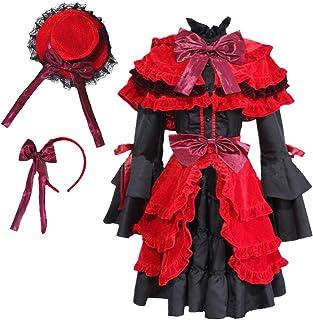 Nite closet Lolita Dress Red Womens Gothic Red Riding Hood Costume Multi Layered Halloween