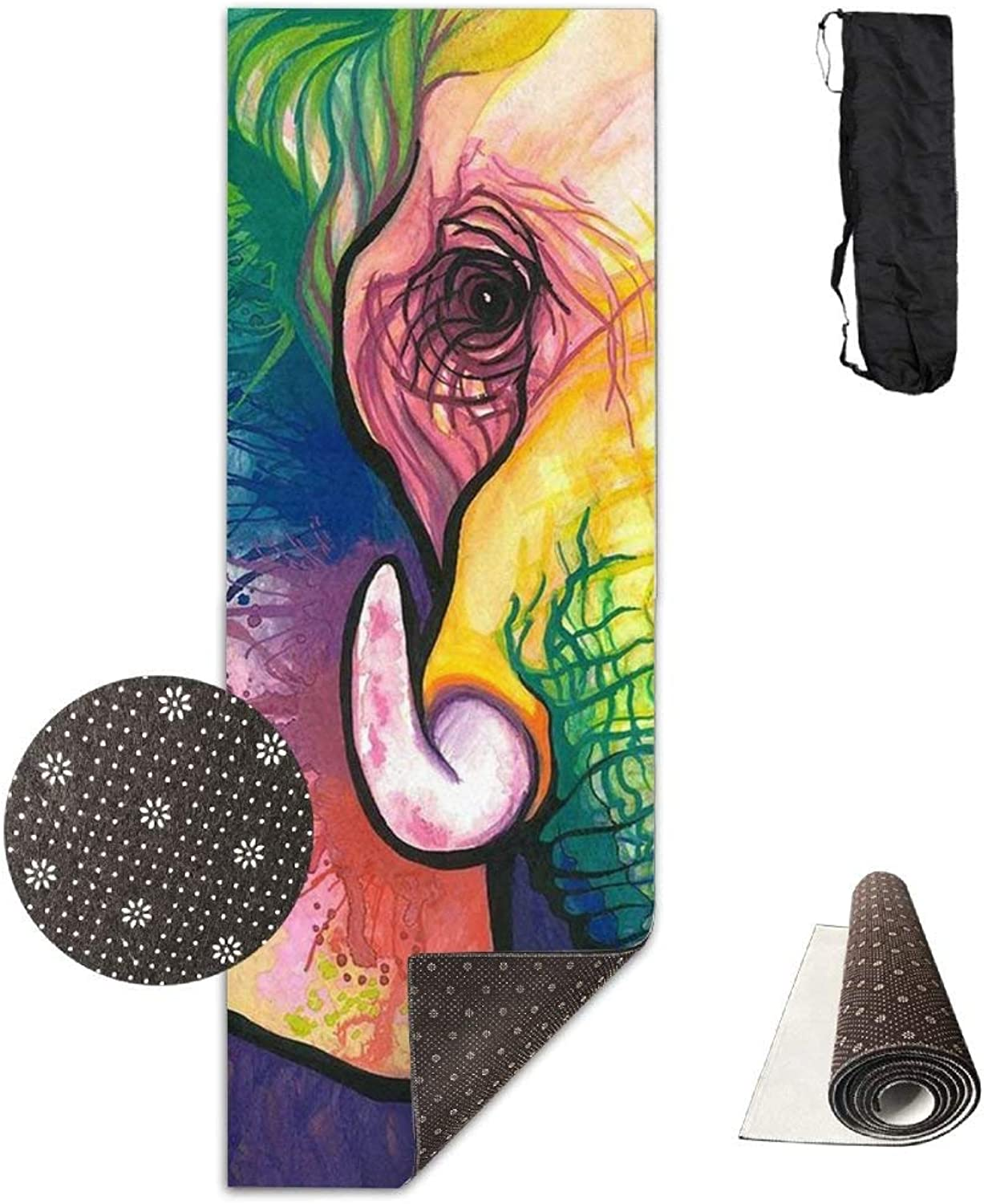 NonSlip FashionForward Watercolor Rainbow Elephant Printed Yoga Mat Aerobic Exercise Mat Pilates Mat Baby Crawling Mat with Carrying Bag Great for Man Women Baby