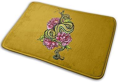 Floral Snake Carpet Non-Slip Welcome Front Doormat Entryway Carpet Washable Outdoor Indoor Mat Room Rug 15.7 X 23.6 inch