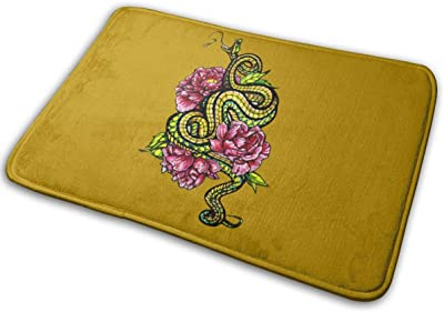 Floral Snake Carpet Non-Slip Welcome Front Doormat Entryway Carpet Washable Outdoor Indoor Mat Room Rug 15.7 X 23.6 inch