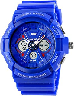 Cool Trendy Blue Digital Sport Watch Silicone Strap Analog Back Light Shock Resistant Watches for Kids