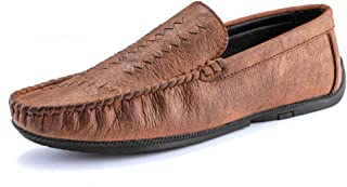 Dongxiong Simple, classic male hand sewing Vamp slippers microfiber leather penny perfunctory moccasins for weakening napus drive loafers (Color : Brown, Size : 39 EU)