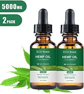 Natural Organic Hemp Seed Oil Drops Full Spectrum Hemp Extract for Anxiety Pain Relief Sleep Support, 5000mg 30ml, 2 Pack