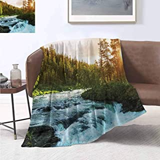 jecycleus European Rugged or Durable Camping Blanket River in Norway Sunrise Sunbeams Through Pine Trees Springtime Scenic Warm and Washable W70 by L90 Inch Baby Blue Apple Green