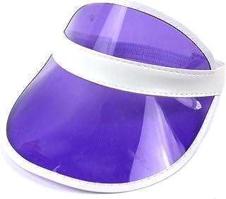 RGANT Sombrero Transparente para el Sol para Mujer/niños, de plástico de Colores, para Tenis y Playa, Transparente, para Bingo Vegas