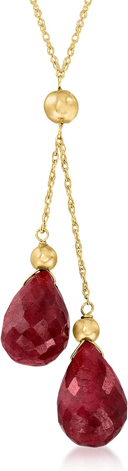 Ross-Simons 10.00 ct. t.w. Ruby Double-Drop Pendant Necklace in 14kt Yellow Gold