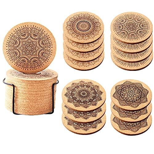 Sottobicchieri sughero sottobicchieri legno, sottobicchieri birra tsottopiatti natalizi ,confezione da 14 pezzi, con supporto in metallo