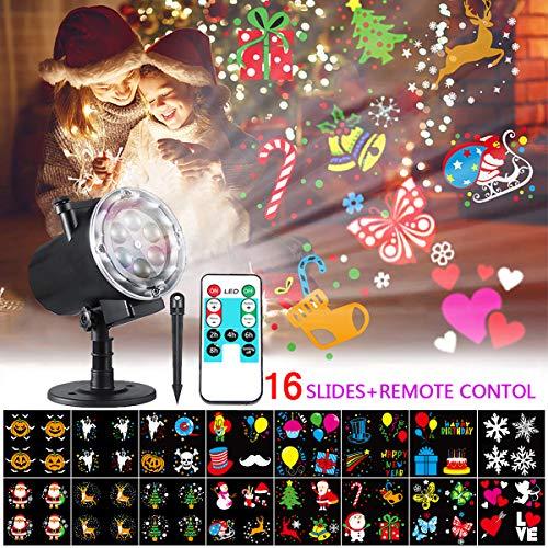 Bosunny Proyector Navidad LED, Lámpara de Proyección de Navidad para Exterior e Interior Luz de Proyección con 16 Diapositivas y RF Remote Ideal para Navidad/Halloween/Jardín/Bodaardín/Boda