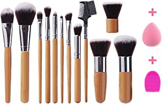 iLoveCos Makeup Brushes Bamboo Handle Professional Makeup Brush Set Premium Synthetic Kabuki Foundation Blending Blush Concealer Eye Face Liquid Powder Cream Cosmetics Brushes Kit with Blender Sponge and Brush Egg(12+2pcs)