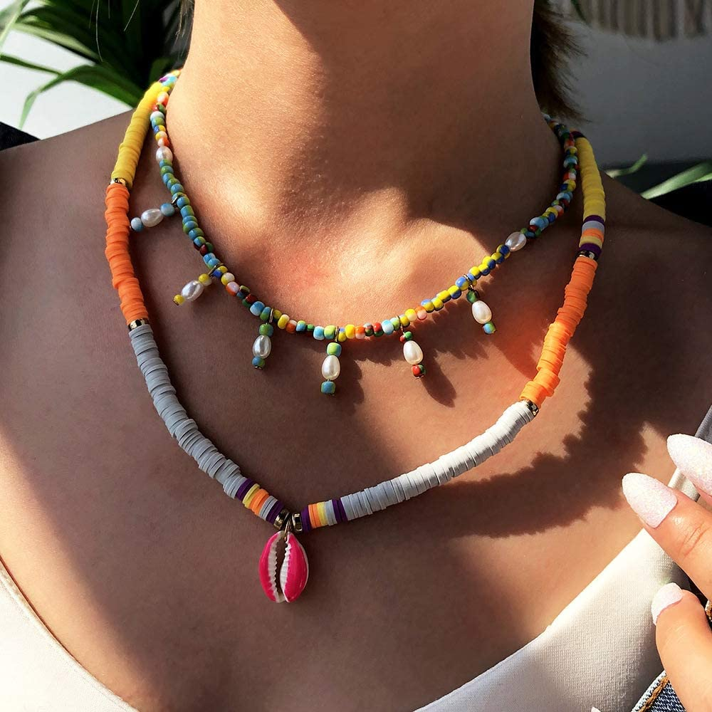 XCOIN Y2k Layered Necklace Colorful Beaded Necklace for Women Trendy Evil Eye Pearl Choker Necklace Set for Teen Girls Boho Tassel Layered Necklace Aesthetic Alt 2000s Cyber Y2k Fashion Jewelry