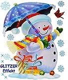 alles-meine.de GmbH 11 TLG. Set _ XL Fensterbilder _ Glitzer Effekt _  Schneemann mit Schirm & Schneeflocken  - statisch haftend - selbstklebend + wiederverwendbar / Weihnachte.. -
