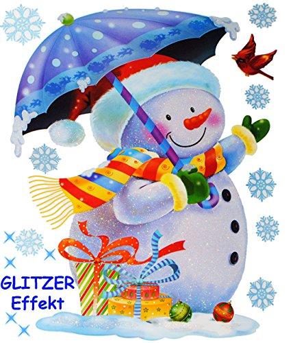 alles-meine.de GmbH 11 TLG. Set _ XL Fensterbilder _ Glitzer Effekt _  Schneemann mit Schirm & Schneeflocken  - statisch haftend - selbstklebend + wiederverwendbar / Weihnachte..