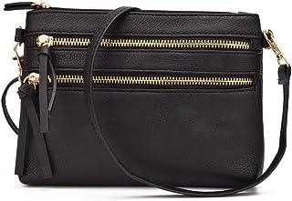JIARUO Functional Mini Multi Zipper Pocket Small Women PU Leather Crossbody Bag Purses