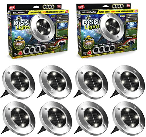 Disk Lights Solar-Powered Auto On/Off Outdoor Lighting As Seen On TV (Set of 8; Regular)