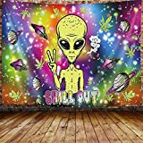 Trippy Tapisserie Psychedelic Tapestry Outer Space Alien Wall Hanging, Marihuana Weed for Wohnzimmer Schlafzimmer Schlafsaal Decor, 152,4 x 101,6 cm Hippie Poster Small Nebula Galaxy