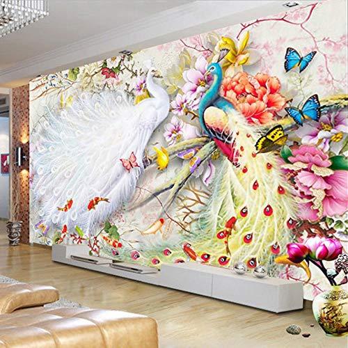 Chinese stijl aquarel pauw pioen 3D muurschildering behang woonkamer slaapkamer achtergrond muur woondecoratie-300 * 210cm