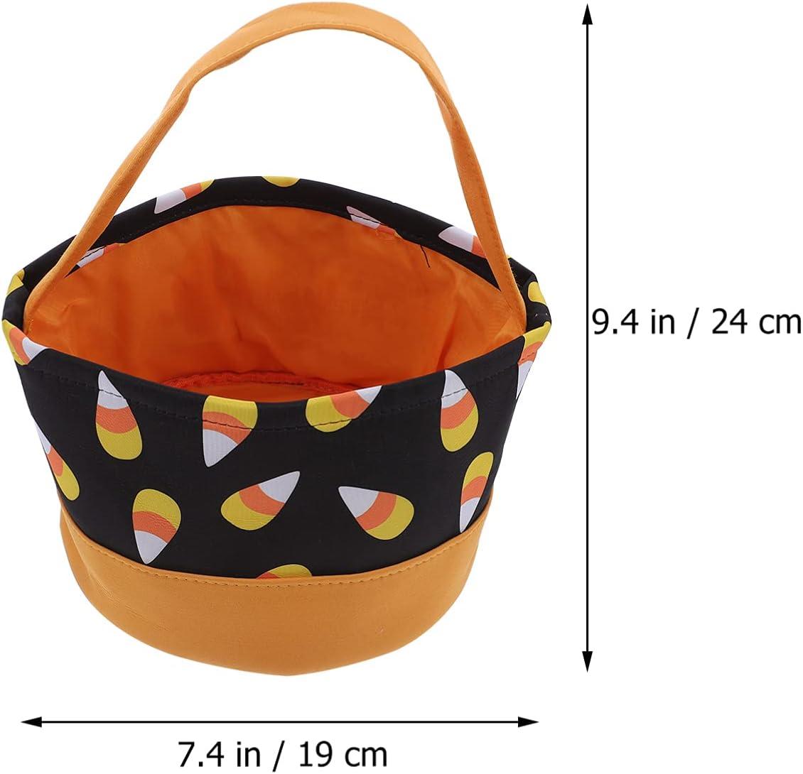 Amosfun Halloween Trick Or Treat Bag Halloween Candy Bucket Pumpkin Candy Tote Bucket Halloween Costume Party Favors Supplies