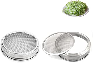 Set of 2 Stainless Steel Sprouting Jar Lid Kit for Superb Ventilation Fit for Wide Mouth Mason Jars Canning Jars for making organic sprout seeds in your house/kitchen