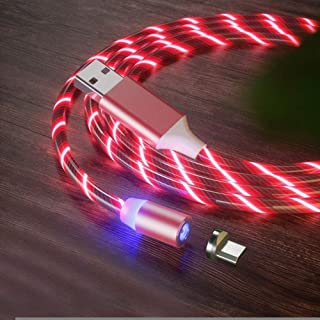 USB to Micro USB Magnetic Suction Colorful Streamer Mobile Phone Charging Cable, Length: 2m (Color : Red Light)