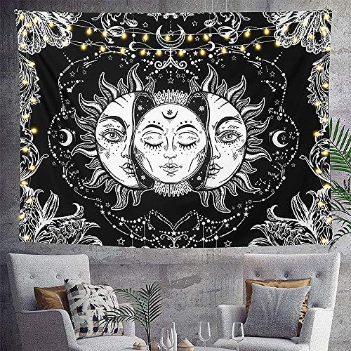 Sol y Luna Tapiz Pared Mandala Tapices Tela Decoracion, Tarot Tapestry Psychedelic Aesthetic Wall Rug Blanket Manta Decorativa Colgante Pared para Dormitorio Sala de Estar (Negro & Blanco, 200x150 cm)