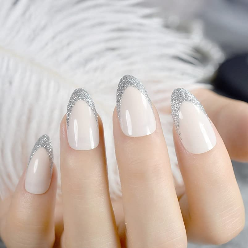 V Shape French Artificial Nails Silver Glitter Decoration Beige Medium Sharp Acrylic Fake Nail Art Tips for Decoration Tool Z777 sxxrgiie308835