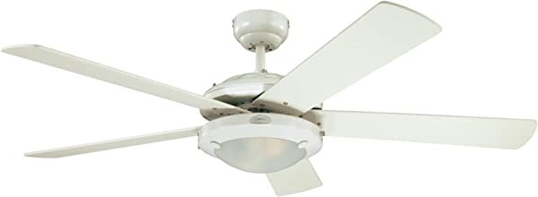 Westinghouse Lighting 7801720 Comet 52 Inch White Indoor Ceiling Fan Light Kit With Frosted Glass
