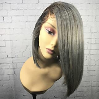 Human Hair Wigs Silk Straight Bob Ombre Lace Front Wig with Baby Hair Side Part Grey Color (12inch, Lace front wig)