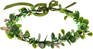 Love Sweety Eucalyptus Crown Greenery Flower Headband Bridal Leaf Headpiece Woodland (Pink)