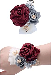 Flonding Rose Wedding Wrist Corsage and Boutonniere Set Party Prom Hand Ribbon Flower Suit Decor (Burgundy)