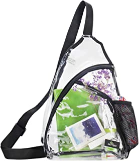 Clear PVC Sling Bag Stadium Approved Transparent Shoulder Crossbody Backpack for Women Men Perfect for Stadium and Concerts
