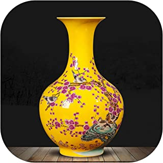 Ceramic Yellow Vase Decoration New Chinese Classical Living Room Tv Cabinet Home Decoration Flower Arranging Vase,B