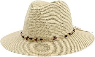 Hats and Caps Beach Hats for Women Simple Outdoor Panama Straw Adjustable Casual Jazz Summer Sun Protection All- Cap Flat Brim (Color : Beige, Size : 56-58CM)
