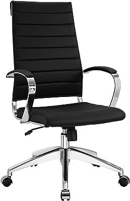 Modway Jive Ribbed High Back Executive Office Chair, Black Vinyl