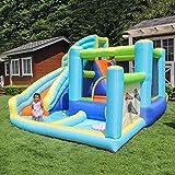 ZHENGRUI Toboganes acuáticos inflables, casa de rebote para niños con pared de escalada de diapositivas largas y grandes cañones de agua para piscinas inflables al aire libre