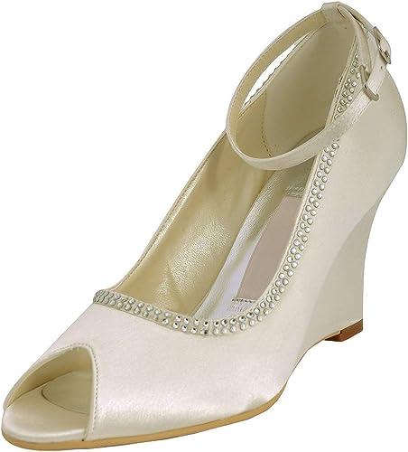 ZHRUI GYMZ701 Femmes Wedge Talons Hauts Satin Soirée De Bal Chaussures De Mariée De Mariage Pompes Sandales Flat (Couleuré   Sandals-ivory-9cm Heel, Taille   9 UK)