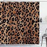 AMBZEK Duschvorhang, Leopardenmuster, Geparden, wilde Safari, Tiere, leistungsstark, Panthera, braunes Hautmuster, Artwork Stoff, Badezimmer-Dekor-Set mit 12 Haken, 183 x 183 cm, orangebraun