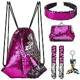 Mermaid Reversible Sequin Drawstring Backpack for Kids Girls with Bonus Slap Bracelet &Purses & Headband & Keychain Set (Rose&Silver)
