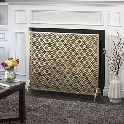 FUFU Mesh Fireplace Screen Fire Guard, Fireplace Spark Protection Flat Fireplace Screen Mesh, Single Panel Wrought Iron Spark Guard Baby Safe Proof, for Wood Burner/Stove/Gas Fire, 2 Colors Bedroom Dé