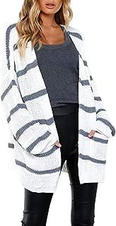 Howely Women's Long Sleeve Knit Cardigan Mid Length Stripes Outwear
