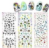 4 Hojas Surtido Pegatina Decoracion para las Uñas Decal DIY uñas herramienta de decoración arte adhesivos uñas Pegatinas