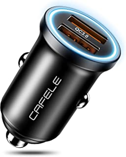 CAFELE Dual USB Car Charger 36W, Zinc Alloy Car Charger Fast Car Charging Mini Flush Fit Compatible with Xs max/XR/x/7/6s, iPad Air 2/Mini 3, Note 9/Galaxy S10/S9/S8 (QC 3.0 Dual USB Ports)