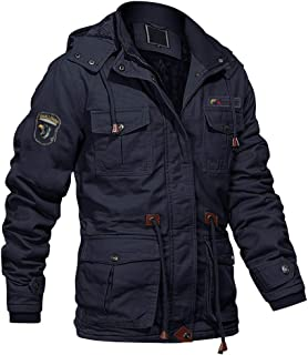 Men's Winter Cargo Jacket with Multi Pockets Military Jackets Cotton Parka Jacket with Removable Hood